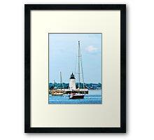 Boat Near Lighthouse, Bristol, RI Framed Print