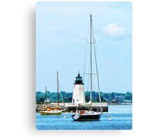 Boat Near Lighthouse, Bristol, RI Canvas Print