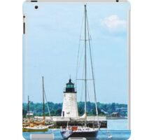 Boat Near Lighthouse, Bristol, RI iPad Case/Skin