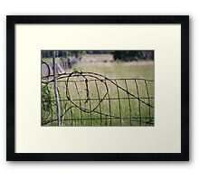 OLD BARBED WIRE FENCE Framed Print