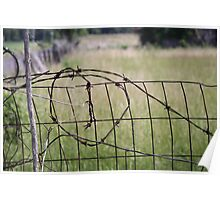 OLD BARBED WIRE FENCE Poster
