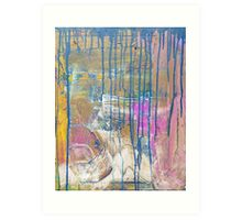 Blue Pink Yellow abstract Art Print