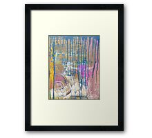 Blue Pink Yellow abstract Framed Print