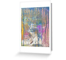 Blue Pink Yellow abstract Greeting Card