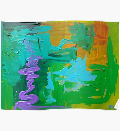 Green Blue Purple Abstract Poster