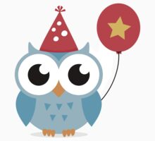 Cute, blue party owl with balloon sticker by MheaDesign