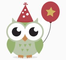 Cute, green party owl with balloon sticker by MheaDesign