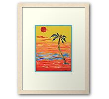 Tropical Collage in Red Framed Print