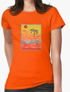 Tropical Collage in Red Womens Fitted T-Shirt