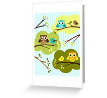 Owls and Birds Blue Greeting Card