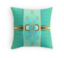 Monogrammed A Flemish Teal Throw Pillow