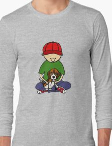 Cute Funny Boy Hugging Dog Long Sleeve T-Shirt