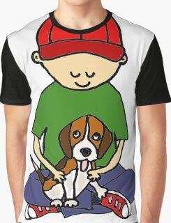 Cute Funny Boy Hugging Dog Graphic T-Shirt