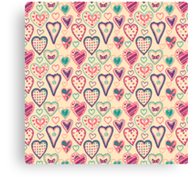 Girly Heart Doodle  Canvas Print