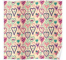 Girly Heart Doodle  Poster
