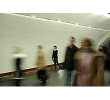 Lonely girl in the subway Photographic Print