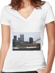 Downtown Skyline Pittsburgh Pennsylvania Women's Fitted V-Neck T-Shirt