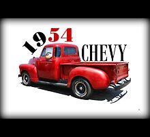 1954 Chevy Throw Pillow by Betty Northcutt