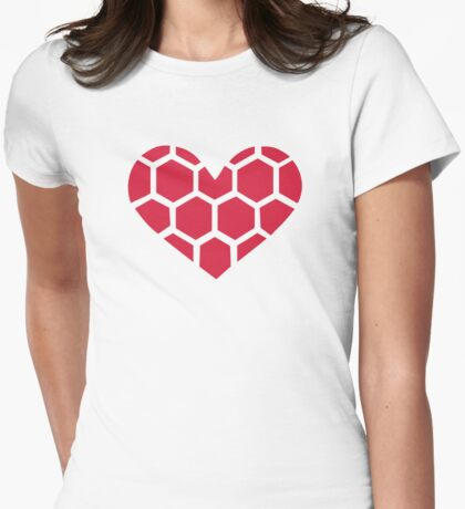 Red Handball heart Womens Fitted T-Shirt