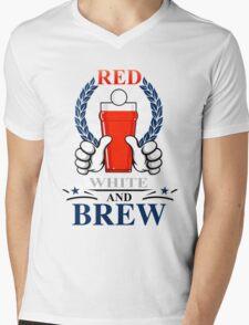 Red White and Brew Mens V-Neck T-Shirt