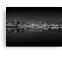 Liverpool skyline panorama at night Canvas Print
