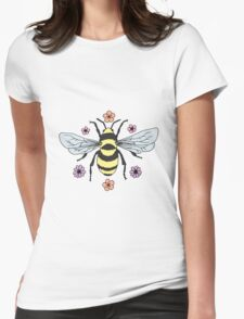 Bumblebee and Flower Blossoms Womens Fitted T-Shirt