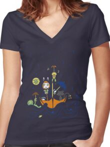 Friends and Rain by Lolita Tequila Women's Fitted V-Neck T-Shirt