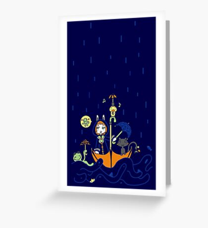 Friends and Rain by Lolita Tequila Greeting Card