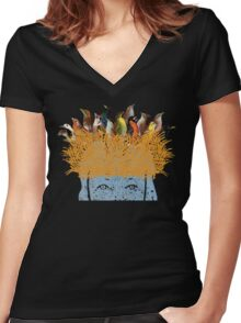 Bird nest head Women's Fitted V-Neck T-Shirt