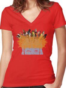Bird nest head Women's Fitted V-Neck T-Shirt