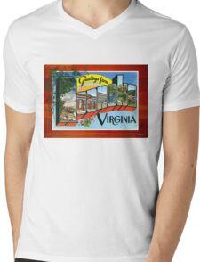 Roanoke Virginia Vintage Souvenir Post Card Mens V-Neck T-Shirt