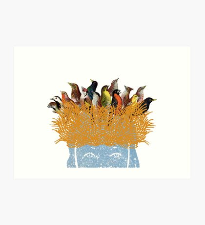 Bird nest head Art Print