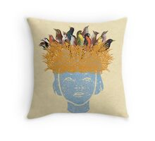 Bird nest head Throw Pillow