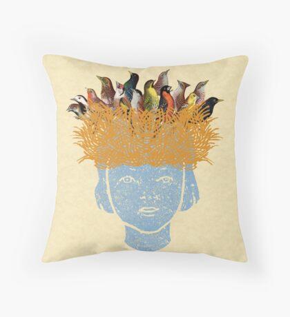 Bird nest head Throw Pillow