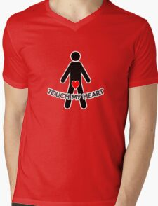 Touch My Heart Mens V-Neck T-Shirt
