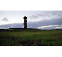 Maoi Statue at Sunset, Easter Island Photographic Print