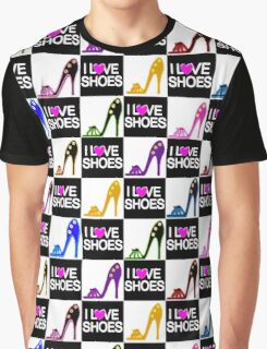 BLACK AND WHITE I LOVE SHOES PATTERN Graphic T-Shirt