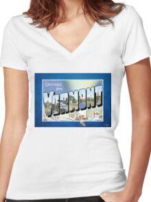 Vermont Vintage Souvenir Post Card Women's Fitted V-Neck T-Shirt