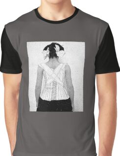 Mysterious Vintage Woman in Corset Graphic T-Shirt