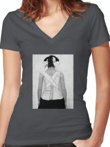 Mysterious Vintage Woman in Corset Women's Fitted V-Neck T-Shirt
