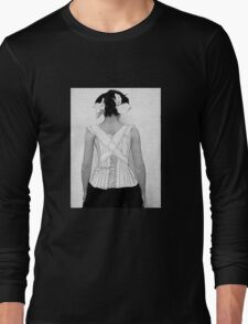 Mysterious Vintage Woman in Corset Long Sleeve T-Shirt