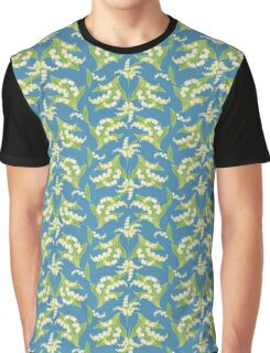 Elegant Lily-of-the-Valley Floral Pattern on Blue Graphic T-Shirt