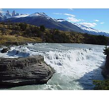 Torres Del Paine and Waterfall Photographic Print