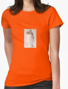Happy Easter: Brown Heart Womens Fitted T-Shirt