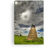 Straw Dalek (3) with boy Canvas Print