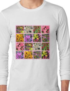 COLORFUL WILD FLOWER PHOTO COLLAGE Long Sleeve T-Shirt