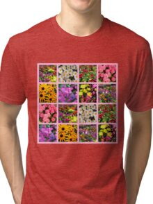 COLORFUL WILD FLOWER PHOTO COLLAGE Tri-blend T-Shirt