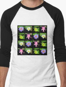 COLORFUL WATER LILY PHOTO COLLAGE Men's Baseball ¾ T-Shirt
