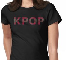 Red Tartan Kpop - Thin Letters Womens Fitted T-Shirt