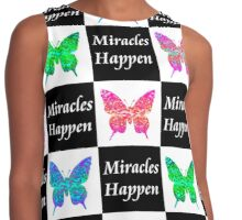 BLACK BUTTERFLY MIRACLES HAPPEN DESIGN Contrast Tank